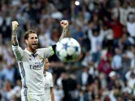 Le capitaine du Real Madrid, Sergio Ramos, célèbre la victoire contre l'Atletico Madrid en C1. AFP