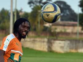 Ivory Coast striker Gervinho controls the ball as he takes part in a training session. AFP