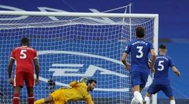 Liverpool's Alisson Becker saved Jorginho's penalty. AFP