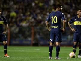 Boca players Carlos Tevez, Edwin Cardona and Dario Benedetto. AFP