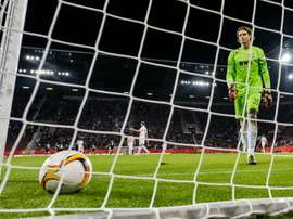 Augsburgs keeper Marwin Hitz reacts in Augsburg, southern Germany on October 1, 2015