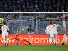 Cristiano (2R) scored from the spot in Juventus' win. AFP