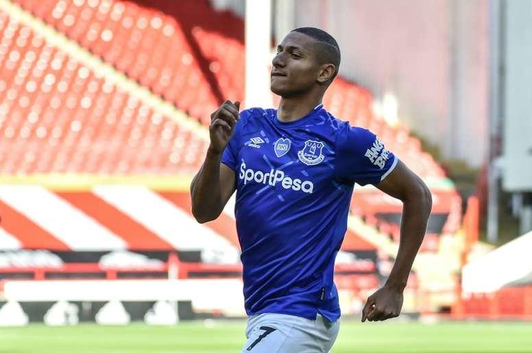 Everton striker Richarlison made a dangerous tackle against Thiago. AFP