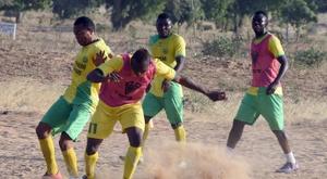 Players of El Kanemi Warriors FC train on a sandy pitch in Maiduguri, on February 2, 2016