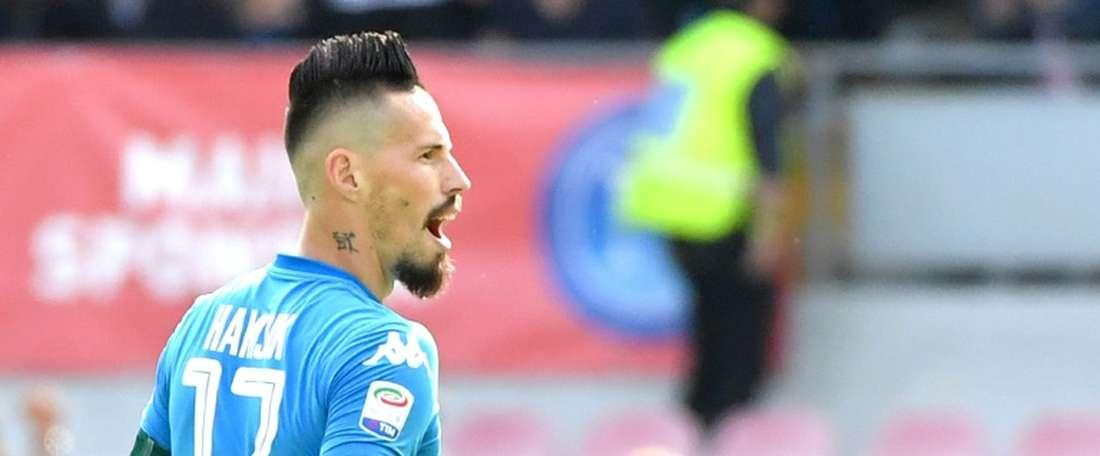 O Napoli ganhou ao Milan por 3-2. AFP