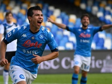 Hirving Lozano scored twice as Napoli beat Atalanta 4-1. AFP