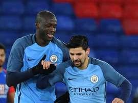 Les joueurs de Manchester City, Yaya Touré et Nolito lors d'un match de Premier League. AFP