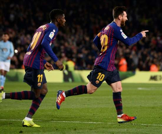 Messi and Dembele on target. AFP