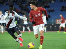 Musa Barrow (L) was decisive in Bologna's triumph at the Stadio Olimpico. AFP