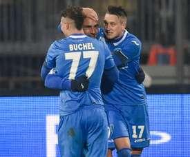 Maccarone volvió al gol por partida doble ante el Pescara. AFP