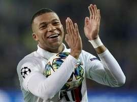 Kylian Mbappé precisou de apenas 40 minutos para marcar três gols. AFP