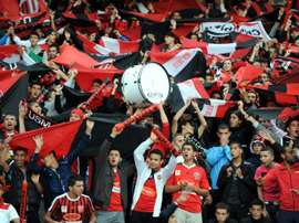 Supporters of Algerias USM Alger club celebrate on May 14, 2013