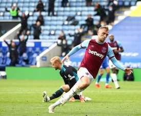 West Hams Jarrod Bowen scored against Leicester. afp_en