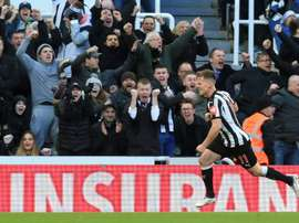 Ritchie celebrates scoring a goal for Newcastle against Manchester United in February 2018.  AFP