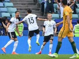 Alemania logró vencer a Australia por la mínima. AFP