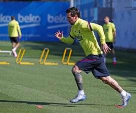 Lionel Messi afastou o susto do problema físico que o afastou por cinco dias. AFP