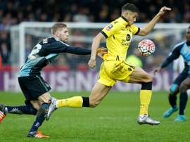 Wycombe Wanderers Jason McCarthy and Aston Villas Riccardo Calder during their FA Cup third-round match on January 9, 2016