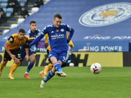 Jamie Vardy scored one penalty and had another saved in Leicester's win over Wolves. AFP