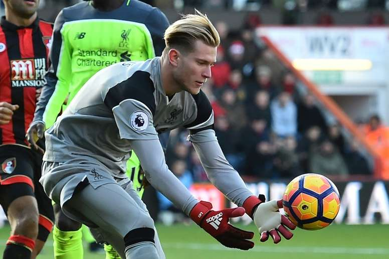 Liverpools German goalkeeper Loris Karius gathers the ball during their match against Bournemouth on December 4, 2016
