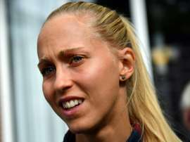 Denmarks defender Line Roddik arrives for a press conference in Breda, on August 4, 2017 during the