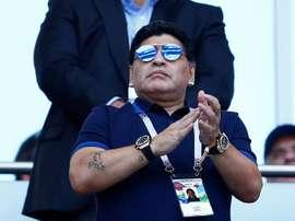 Maradona entró en un programa para insultar a su sobrino. AFP