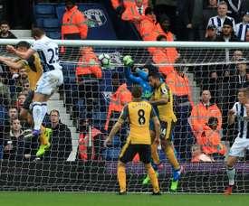 Dawson, du WBA, après avoir ouvert le score dans le match de Premier League contre Arsenal. AFP