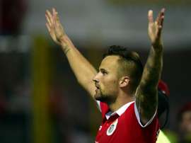 Benficas Swiss forward Haris Seferovic celebrates after scoring a goal