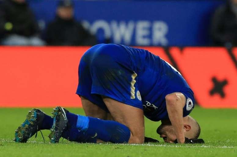 Islam Slimani retrouve enfin les terrains avec Leicester. AFP