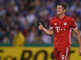 Bayern Munichs Polish striker Robert Lewandowski, pictured on August 19, 2016, put Bayern ahead after just three minutes at fourth-division club Jena, ending the match with a hat-trick