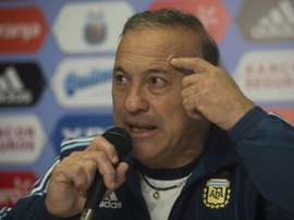 Argentinias Olympic coach Julio Olarticoechea, pictured speaking on July 7, 2016, revealed after Argentina crashed out of the Rio Games that he has not been paid, forcing his wife to borrow money from the couples daughter