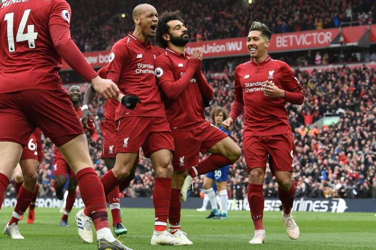 Mo Salah scored Liverpool's second goal against Chelsea. AFP