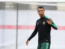 Cristiano Ronaldo trains with Portugal. AFP