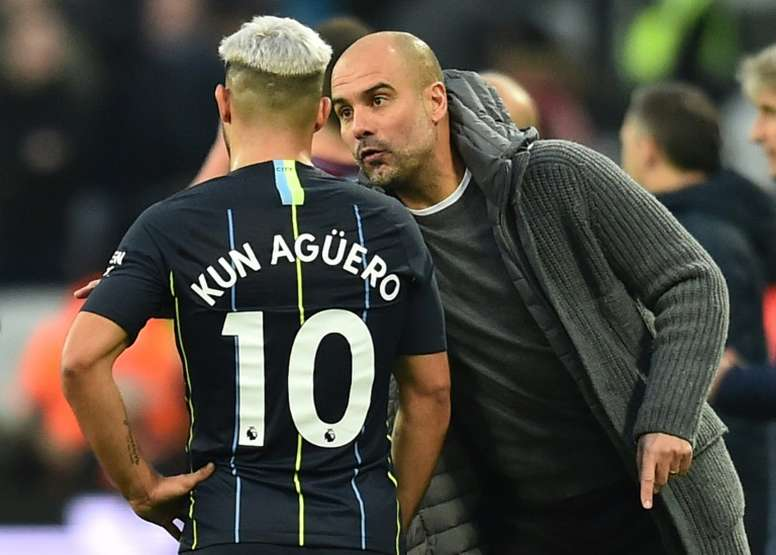 Aguero faces a race to be fit for the top of the table clash. AFP