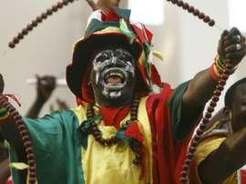 Un aficionado guineano, en un encuentro de selecciones. AFP