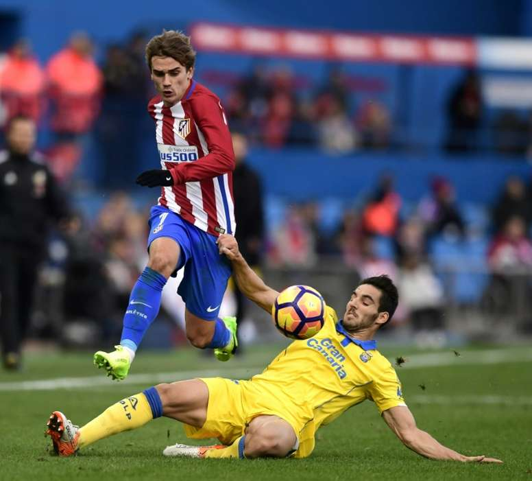 Antoine Griezmann (upright) is French footballer of the year. AFP