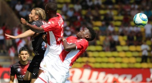 Monaco v Nimes was briefly halted to due to insults from the stands. AFP