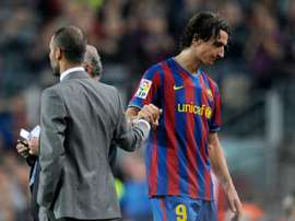 Zlatan Ibrahimovic was signed by Guardiola, but he never made it at the Camp Nou. AFP