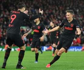 Marcos Llorente marcou dois gols na prorrogação para eliminar o Liverpool. AFP