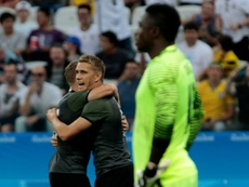 Germanys Nils Petersen celebrates  after scoring the second goal against Nigeria. AFP
