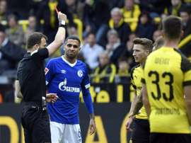 Marco Reus was sent off for a studs-up challenge during Saturdays derby. AFP