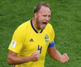 Andreas Granqvist dio el triunfo a Suecia ante Turquía. AFP/Archivo