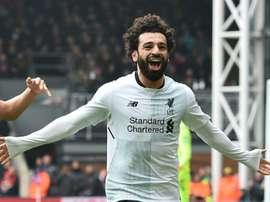 Salah volvió a marcar y quiere la Bota de Oro. AFP