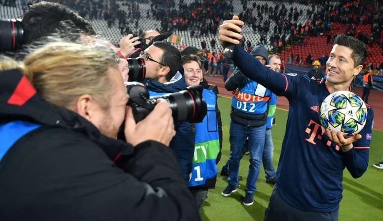 Lewandowski, a candidate for 2019 top goalscorer. AFP