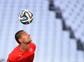 Inler, en un entrenamiento con su selección. AFP