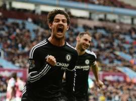 Chelseas Brazilian striker Alexandre Pato celebrates after scoring from the penalty spot. AFP