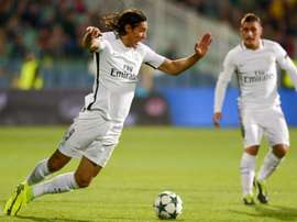 Edinson Cavani falls during the Champions League match between Ludogorets and PSG. AFP
