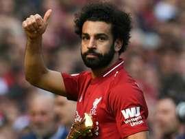 Salah falou sobre o seu tival goleador, Harry Kane. AFP
