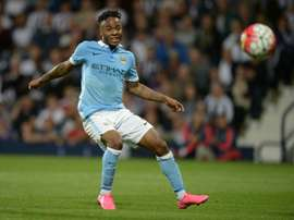 Manchester Citys midfielder Raheem Sterling shoots during an English Premier League football match against West Bromwich Albion at The Hawthorns in West Bromwich, central England, on August 10, 2015