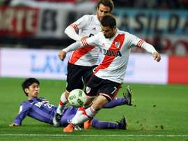River Plates Rodrigo Mora (front) in action during the Club World Cup semi-final against Sanfrecce Hiroshima in Osaka, on December 16, 2015