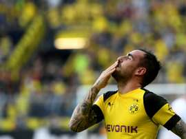 Alcacer was Dortmund's hero. AFP